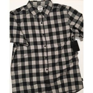 Hurley Bison Woven Plaid Button Down Shirt NWT